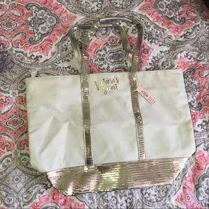 NWT Victoria Secret Gold Sequin Tote Bag Beach